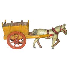 4.5 Inch Long German Horse and Cart Lithographed Tin Penny Toy