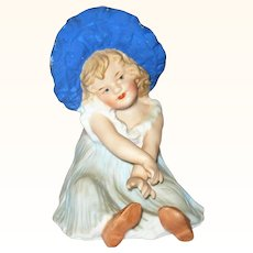 4.5 Inch Piano Heubach Girl in Blue Sun Bonnet