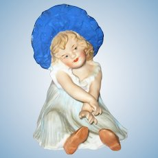 4.5 Inch Piano Heubach Girl in Blue Sun Bonnet