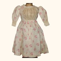 19th Century Hand Stitched Red on Ivory Roller Printed Linen Dress