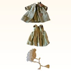 19th Century Hand Stitched Celery Green Costume for Small Doll