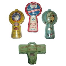 Four 1920's Lithographed Tin Shoe Advertising Whistles Endicott Johnson*Twinkie*Robin Hood*Weatherbird