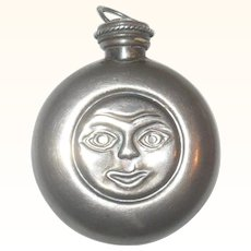 "Old 2"" Metal Sun Face Chatelaine Perfume Flagon"