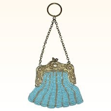 Old and Beautiful Turquoise Blue Beaded Chatelaine Purse Gold Washed German Silver Frame