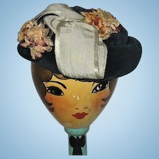19th Century Mid Night Blue Velvet Flower Decorated Hat for French Fashion
