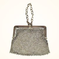 Chain Mesh Purse with Chatelaine Ring and Wrist Chain