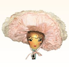 Victorian Wired Ivory and Pink Big Brimmed Hat for French or German Doll