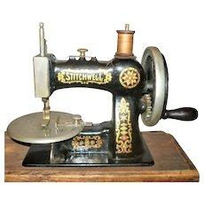 19th Century Stitchwell Child's Sewing Machine Original Labeled Wood Box