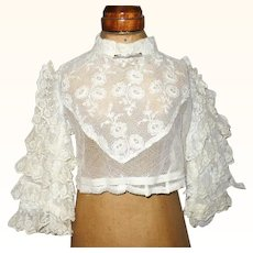 19th Century Embroidered Lace Blouse for Gibson Lady Doll