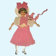 6.75 Lithographed Jointed Paper Doll with Crepe Paper Costumes and Provenance