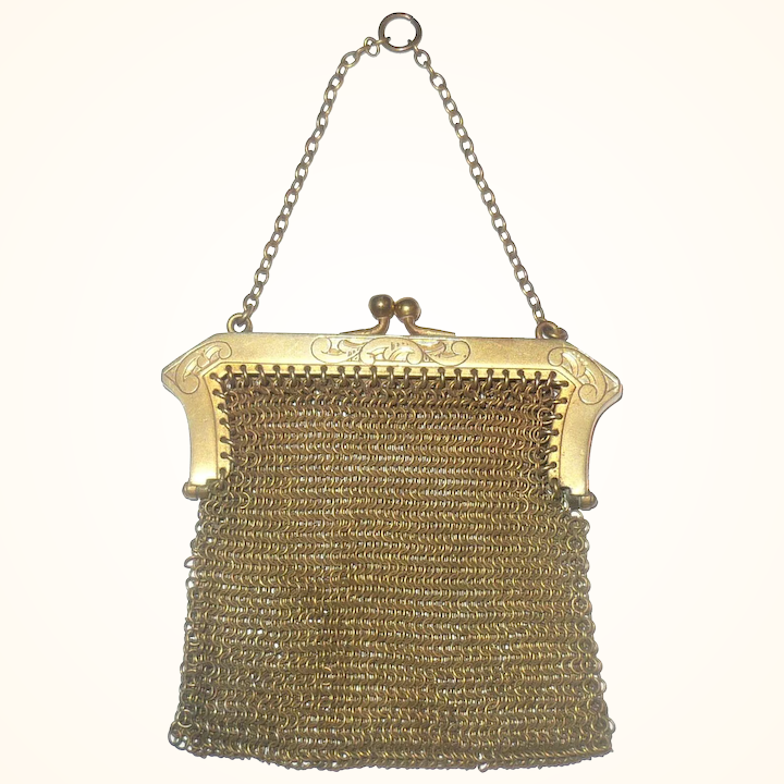 Art Deco Gilt Chain Mail Coin Purse Chain Link Handle with Chatelaine Ring