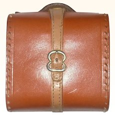 "3"" Tan Leather Doll Size Suit Case with Leather Strap and Handle"