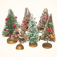 6 Decorated Vintage Japan Bottle Brush Trees Jewels Fruit Berries