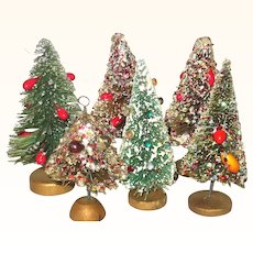 6 Decorated Vintage Japan Bottle Brush Trees Jewels Fruit Berries