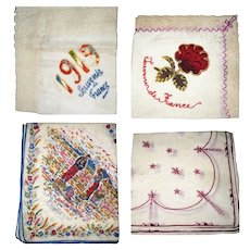 4 Vintage French Handkerchiefs 2 Lace Trimmed Silk Souvenir and 2 Printed Linen Fleur and Millet Peasants