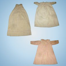 2  Early Brushed Cotton Night Shirts and a Brushed Cotton Night Gown for Antique Dolls