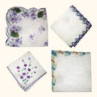 4 Beautiful Vintage Linen Violet Embellished Handkerchiefs
