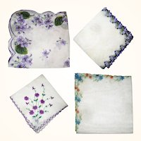 4 Beautiful Vintage Linen Violet Embellished Handkerchiefs