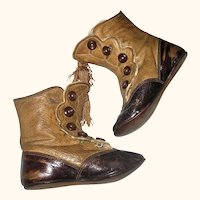 4.75 Inch Late Victorian 2 Tone Brown Hi Button Flat Sole Boots Tassels