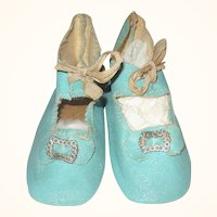 Old 2.75 Inch Size 6 Turquoise Oil Cloth Tie Shoes with Toe Ornaments