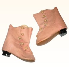 Old 3 Inch Pink Oil Cloth hi Top 5 Button Boots with Heels