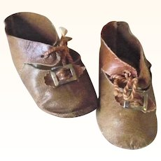 Old 3.75 Inch Size 12 Tan Kid Tie Shoes wide Foot Toe Buckles & Bows