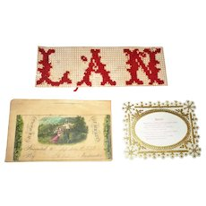 Early 19th Century Reward of Merit + Cross Stitch & Paper Mourning Pieces