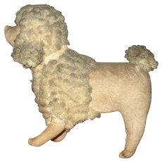 7 Inch 1900 Hard Stuffed Flannel Poodle Gray Woolly Head Mane Ears Tail