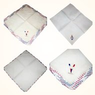 3 Vintage Patriotic Red White Blue Handkerchiefs US Navy  Victory Sign