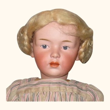 """Scarce 16"""" Heubach Character Socket Head 7407 Girl with Intaglio Eyes with Sensational Face"""