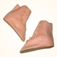 3.75 Inch Size 10 Old Stock Pink Oil Cloth 5 Button Flat Sole Boots