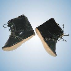 "4"" Size 12 Black Patent High Top Shoes for German Bisque China Papier-Mache Dolls"