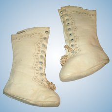 4.25 Inch Ivory Kid High Top Tie Boots 6.5 Inches Tall 9 Sets Grommets