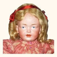 Fine 17 Inch Kley and Hahn 536 Character Girl Original Wig Antique Costume