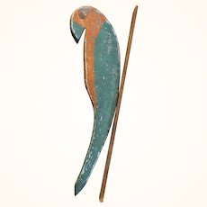 13 Inch 1920's Wood Parrot Plant Bracket Hanger Original Chippy Pumpkin and Green Paint