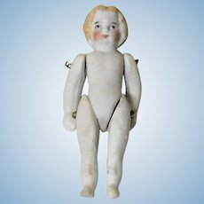 Old 3 Inch Untinted Bisque Doll wire Jointed Shoulders and Hips