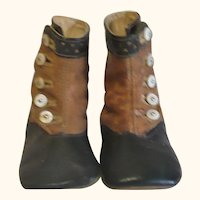 Edwardian 5 Inch Saddle & Black Leather High Button Shoes Papier-Mache Rag China Dolls