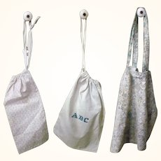 3 Old Roller Printed Linen Seed or Work Bags 2 with Pull String Tops