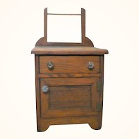 Old Primitive Toy Wood Wash Stand with Towel Bar Drawer and Compartment