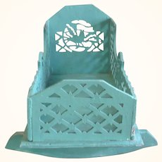 19th Century Folk Tramp Art Cut Out Toy Cradle Birds Joined Diamond Florets Old Green Blue Paint