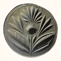 19th Century 1 Piece Wood Butter Stamp Carved Stylized Flower Leaves