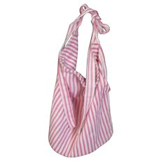 Vintage Red & Ivory Ticking Work Bag Apron