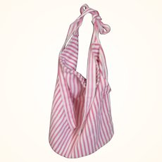 Vintage Red & Ivory Ticking Work Bag Apron