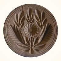 Mid 19th Century  Wood Butter Stamp Carved Flower Leaves Ring Border Bulbous Handle
