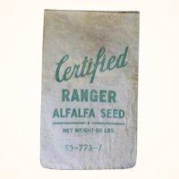 28 Inch x 15 inch Heavy Linen Canvas Ranger Alfalfa Seed Bag