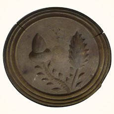 4 & 3/8 Inch Pennsylvania Carved 1 Piece Wood Acorn Butter  Stamp