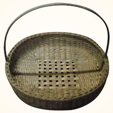 19th Century NJ Round Splint Herb Drying Basket with Handle