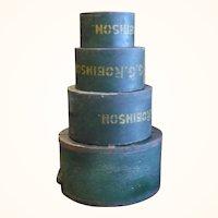 19th Century Nest of 4 Daniel Craigin Dry Measures Old Dark Green Paint Yellow Farm Stamp