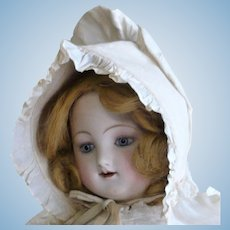 22 Inch Jules Steiner 1860's Transitional Doll with Round Head Open Mouth Teeth Swivel Neck Motschmann Body Pull Strings