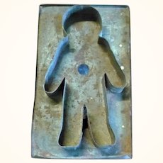 19th Century 8 Inch x 4.25 Inch Ginger Bread Man Mold or Cookie Cutter by Thomas Mills and Brother Philadelphia